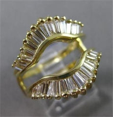 ANTIQUE 2.0CT DIAMOND 14KT YELLOW GOLD GRADUATING BAGUETTE INSERT RING #20100