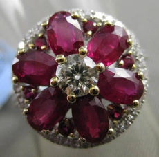 ANTIQUE LARGE 4.29CTW DIAMOND & AAA RUBY 18KT TWO TONE GOLD FLORAL COCKTAIL RING