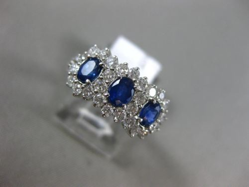 WIDE 2.0CT DIAMOND & AAA OVAL SAPPHIRE 14KT WHITE GOLD PAST PRESENT FUTURE RING