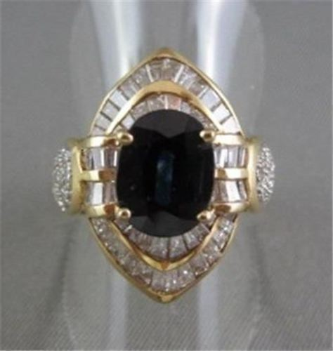 ANTIQUE MASSIVE 18KT YELLOW 5.70CTW DIAMOND & AAA SAPPHIRE RING AMAZING!!!!!!!
