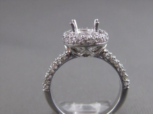 ESTATE 1.20CTW DIAMOND PAVE 14K W GOLD ENGAGEMENT RING SEMI MOUNT SETTING #20096