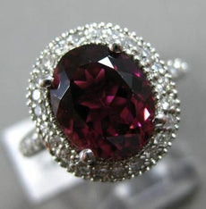 ESTATE WIDE 4.38CT DIAMOND & PINK TOURMALINE 14K WHITE GOLD HALO ENGAGEMENT RING
