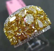 ESTATE WIDE 4.71CT WHITE & FANCY INTENSE YELLOW DIAMOND 18KT TWO TONE GOLD RING
