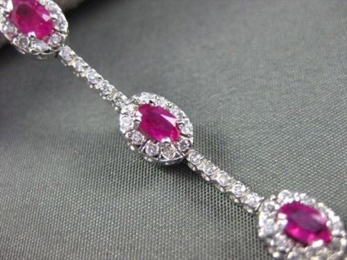ANTIQUE 4.03CT DIAMOND & AAA RUBY 14KT WHITE GOLD CLUSTER TENNIS BRACELET #112