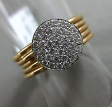 ESTATE .31CT DIAMOND 18KT WHITE & ROSE GOLD 3D CIRCULAR MULTI BAND PAVE FUN RING