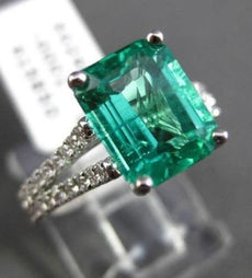 ESTATE 2.69CT DIAMOND & EMERALD 18KT WHITE GOLD 3D DOUBLE BAND ENGAGEMENT RING