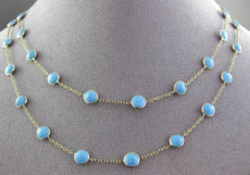 ANTIQUE EXTRA LONG 14KT YELLOW GOLD ROUND TURQUOISE BY THE YARD 3D NECKLACE