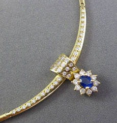 ESTATE 1.25CT DIAMOND & AAA SAPPHIRE 14K YELLOW GOLD OVAL FLOWER CHOKER NECKLACE