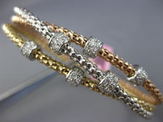 WIDE .66CT DIAMOND 14K TRI COLOR GOLD FLEXIBLE 3D BY THE YARD BANGLE BRACELET