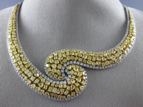 ESTATE EXTRA LARGE 35.53CT WHITE & FANCY YELLOW DIAMOND 18K 2 TONE GOLD NECKLACE