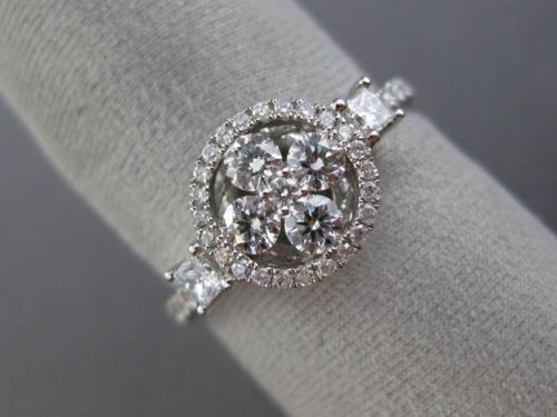 ESTATE WIDE .82CT DIAMOND 18K WHITE GOLD 3D ROUND FLOWER HALO FILIGREE LOVE RING