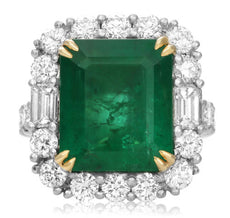 ESTATE LARGE 12.33CT DIAMOND & AAA EMERALD 18KT 2 TONE GOLD & PLATINUM HALO RING