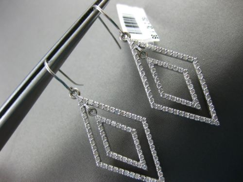 LARGE 1.35CT DIAMOND 14KT WHITE GOLD 3D DOUBLE HALO CHANDELIER HANGING EARRINGS