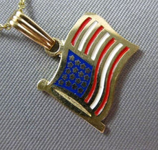 ESTATE 14K YELLOW GOLD RED WHITE & BLUE ENAMEL AMERICAN FLAG PENDANT CHAIN 25305