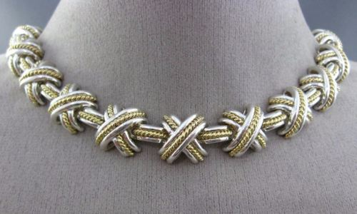 WIDE TIFFANY & CO 18KT YELLOW & 925 SILVER GOLD X LOVE ETERNITY NECKLACE #26181