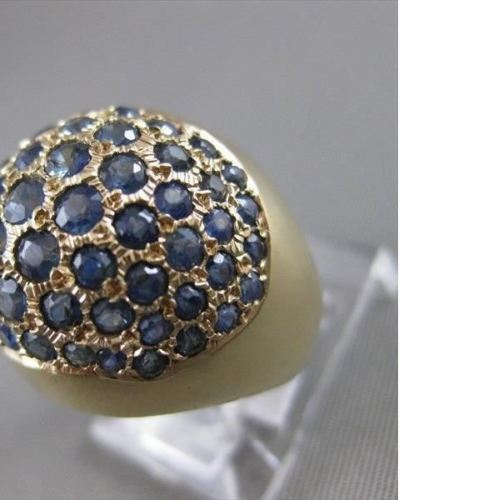 ANTIQUE 1.50CTW SAPPHIRE 18K YELLOW GOLD ROUND PAVE DOME COCKTAIL RING #19925