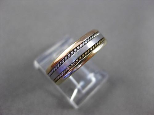 ESTATE 14KT TRI COLOR GOLD DOUBLE ROPE WEDDING ANNIVERSARY RING BAND 5mm #1528