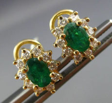 1.46CT DIAMOND & AAA EMERALD 14K YELLOW GOLD OVAL PRINCESS DIANA FLOWER EARRINGS