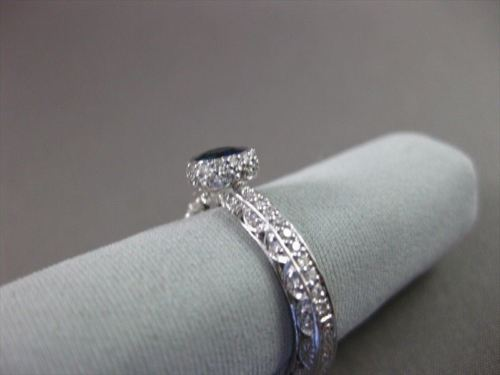 ESTATE .97CT DIAMOND & AAA SAPPHIRE 18KT WHITE GOLD 3D SOLITAIRE ENGAGEMENT RING