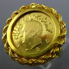 ESTATE LARGE 22 & 18K YELLOW GOLD 1/4 1955 MIDDLE EASTERN PAHLAVI KING COIN RING