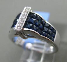 ESTATE WIDE 4.66CT DIAMOND & AAA SAPPHIRE 18KT WHITE GOLD 3D PYRAMID RING