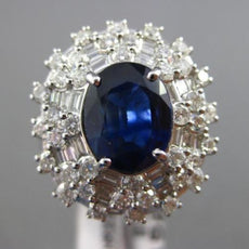 ESTATE LARGE 6.06CT DIAMOND & SAPPHIRE 18KT WHITE GOLD MULTI HALO COCKTAIL RING