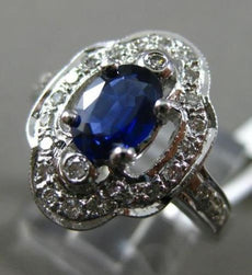 ESTATE WIDE .90CT DIAMOND & SAPPHIRE 14KT WHITE GOLD 3D FLOWER ENGAGEMENT RING
