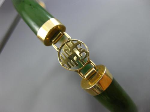 ESTATE WIDE AAA JADE 14KT YELLOW GOLD 3D HANDCRAFTED CHINESE CHARACTER BRACELET