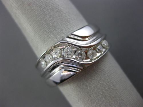 ESTATE WIDE .50CT DIAMOND 14KT WHITE GOLD 3D EIGHT STONE WAVE INFINITY MENS RING
