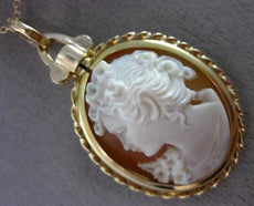 ANTIQUE 18KT YELLOW GOLD HANDCRAFTED ITALIAN LADY CAMEO FLOATING PENDANT #25581
