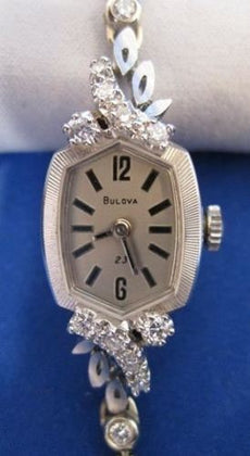 ESTATE BULOVA 1.70CTW DIAMOND 14K WHITE GOLD 23 JEWEL FILIGREE WATCH #395
