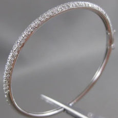 ANTIQUE 2.20CTW PAVE DIAMOND 18KT WHITE GOLD BANGLE BRACELET 3MM F/G VS #9328