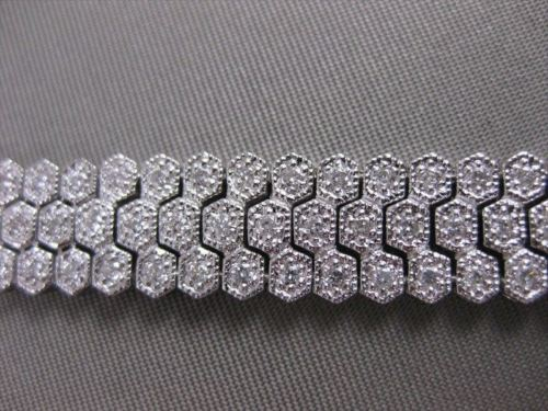 ANTIQUE 10MM WIDE 2.50CTW DIAMOND 18KT WHITE GOLD FILIGREE BRACELET FG VS #20471