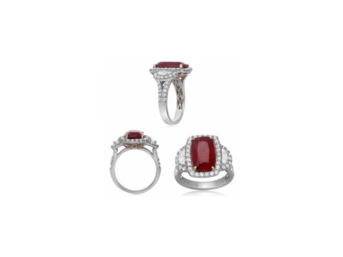 GIA CERTIFIED LARGE 7.61CT DIAMOND & AAA RUBY 18KT 2 TONE GOLD ENGAGEMENT RING