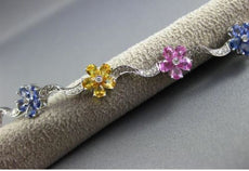 ESTATE 10.02CT DIAMOND & MULTI COLOR SAPPHIRE 18KT WHITE GOLD 3D FLOWER BRACELET