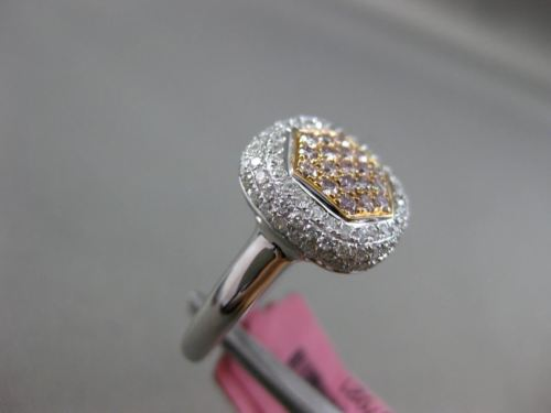 ESTATE WIDE .83CT DIAMOND 18K WHITE & ROSE GOLD 3D HEXAGON CLUSTER FILIGREE RING