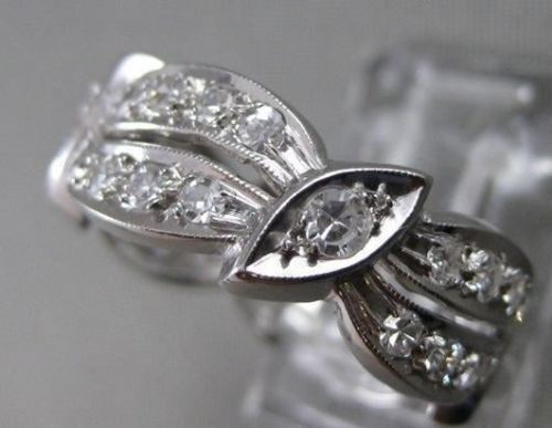 ANTIQUE 1.10CT OLD MINE DIAMOND PLATINUM ETERNITY WEDDING ANNIVERSARY RING #9425