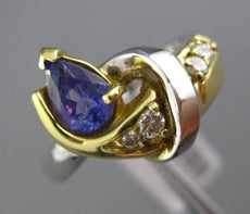 ESTATE 1.10CT DIAMOND & TANZANITE 18K TWO TONE GOLD 3D LOVE KNOT ENGAGEMENT RING
