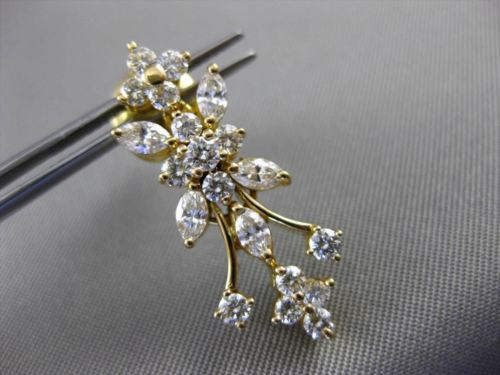 ANTIQUE 2.20CT ROUND & MARQUISE DIAMOND 18KT YELLOW GOLD FLOWER HANGING EARRINGS