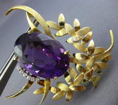 ESTATE EXTRA LARGE 30.20CT DIAMOND & AMETHYST 14KT YELLOW GOLD FLOWER BROOCH PIN