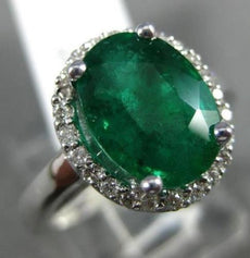 LARGE 3CT DIAMOND & AAA COLOMBIAN EMERALD 14K WHITE GOLD 3D HALO ENGAGEMENT RING