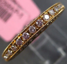 ESTATE .50CT PINK DIAMOND 18KT ROSE GOLD FILIGREE MILGRAIN ANNIVERSARY RING BAND