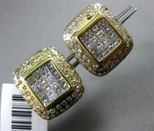 ESTATE WIDE .95CT DIAMOND 14K WHITE & YELLOW GOLD ETOILE CLASSIC SQUARE EARRINGS