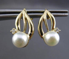 ANTIQUE DIAMOND & AAA SOUTH SEA PEARL 14K YELLOW GOLD 3D HANGING EARRINGS #24402