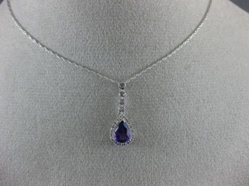 ESTATE 1.08CT DIAMOND & AAA AMETHYST 14KT WHITE GOLD 3D PEAR SHAPE HALO PENDANT