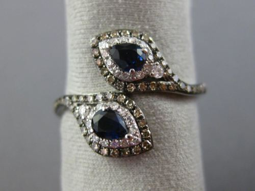WIDE .73CT WHITE & CHOCOLATE FANCY DIAMOND & SAPPHIRE 14KT WHITE GOLD SNAKE RING