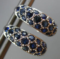 ESTATE WIDE 1.50CT AAA SAPPHIRE 14KT WHITE GOLD 3D CLASSIC PAVE HUGGIE EARRINGS