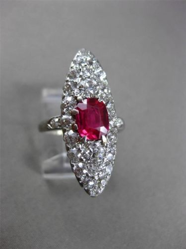 ANTIQUE MASSIVE 2.85CT OLD MINE DIAMOND & AAA RUBY PLATINUM COCKTAIL RING #23774
