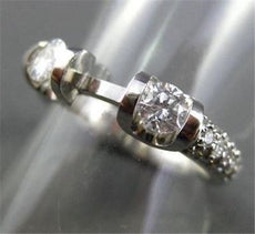 ESTATE .46CT DIAMOND 14KT WHITE GOLD 3 STONE SEMI MOUNT ENGAGEMENT RING #1550