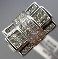 ESTATE WIDE 2.70CT ROUND & PRINCESS DIAMOND 14K WHITE GOLD HANDCRAFTED MENS RING